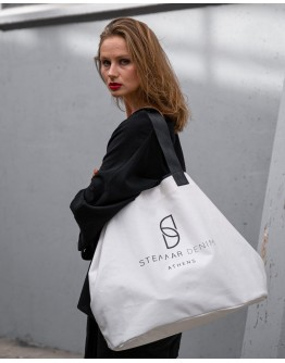 Stellar Black & White Shopper Bag, Logo Print