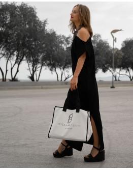 Stellar Black & White Tote Bag, Logo Print