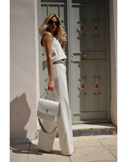 White Denim Set , wide-leg pants and cropped top
