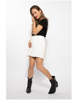 Stellar White Dream Denim Mini Skirt