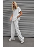 Stellar Straight-Leg Pants . Silver Lurex Logo embroidery at the side