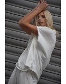 Stellar Sleeveless Top. Silver Lurex Logo embroidery at the side