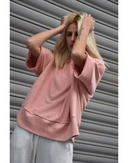 Stellar Short Sleeves Sweatshirt. Silver Lurex Logo embroidery at the side