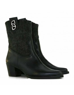 Black Leather + Délavé Denim Boots
