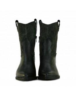 Black Leather + Délavé Denim Boots