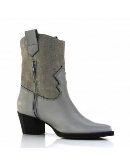 Gray Leather + Délavé Denim Boots