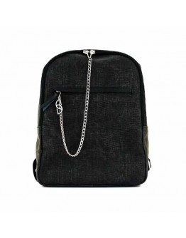 Leather-trimmed Black Delavé Stellar Man Backpack