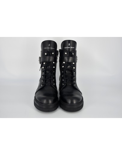 Leather Combat Ankle Boots - Product Code: 011070004