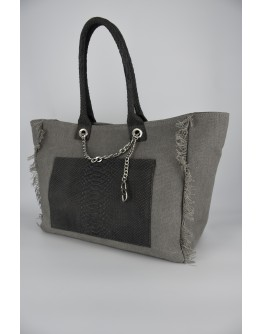 Gray Classic Tote Bag, snake effect leather pocket & handle
